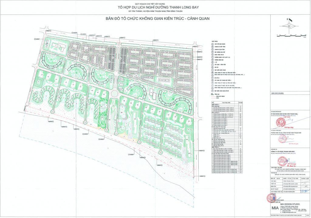 Bảng đồ quy hoạch 1/500 tổ hợp đô thị dự án Thanh Long Bay Bình Thuận