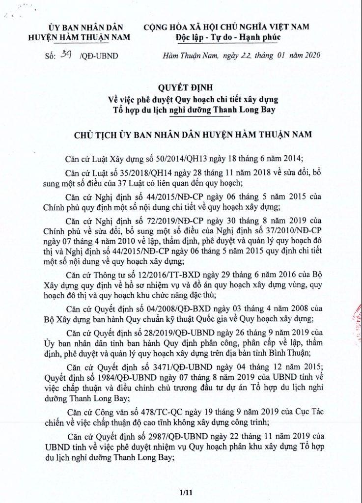 Quy hoạch 1/500 đô thi biển dự án Thanh Long Bay