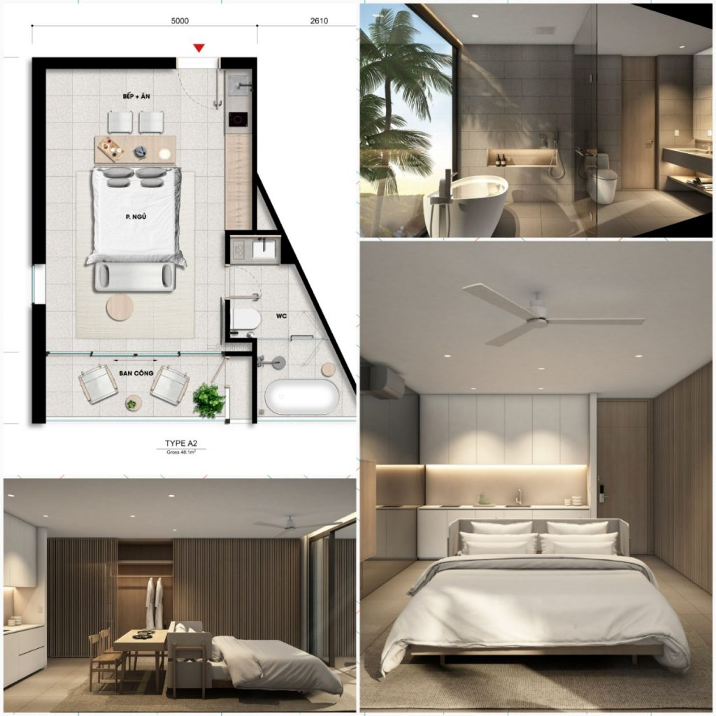 Thiết kế căn 1 phòng ngủ có bồn tắm nằm Wyndham Coast Thanh Long Bay