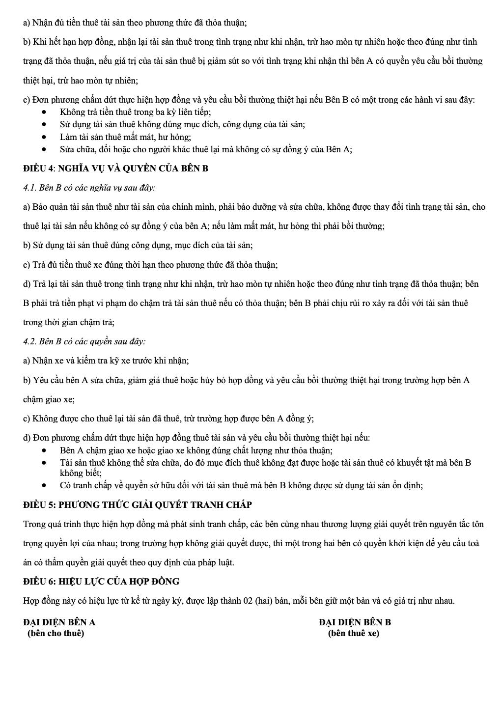 Hợp đồng cho thuê xe tự lái quận Tân Phú 002